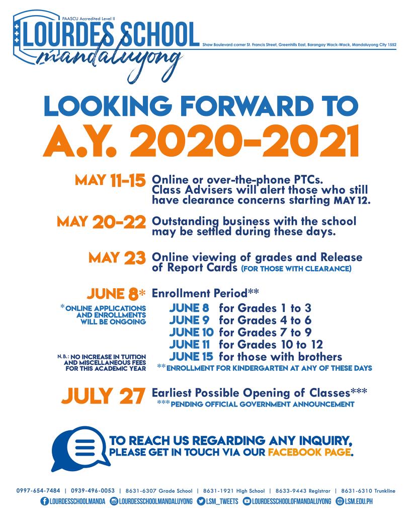 Looking Forward To AY 2020 - 2021